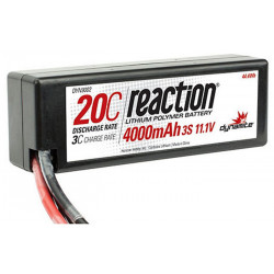 Pack REACTION 11,1V 4000mAh 3S 20C Lipo Coque rigide: EC3 (DYN9002EC)