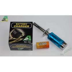 Glow starter voltmetre + accu SC-3300 + chargeur