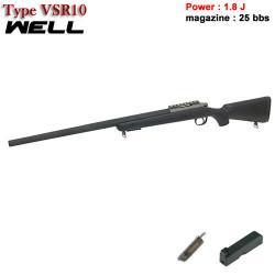 Well- Sniper type VSR 10 noir - Ressort - 1.8 J - 6 mm