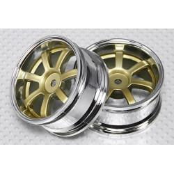 1:10 Scale Wheel Set (2pcs) Chrome / Gold 7-Spoke RC Car 26mm (3mm Offset)