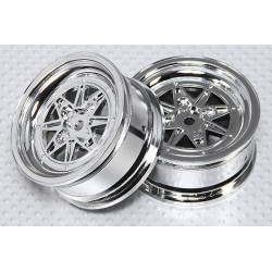 1:10 Scale Wheel Set (2pcs) Chrome Retro 7-Spoke RC Car 26mm (No Offset)